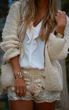 Sequins + cardigan.