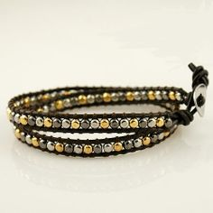 2 wrap around Bracelet or Anklet. It's a cutie on with little metal nuggets on genuine leather. Adjustable size: 17 - 21 cm.  xx