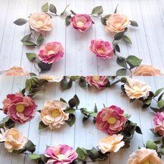 Felt Flower Garland Floral Garland Nursery by thegreyrose