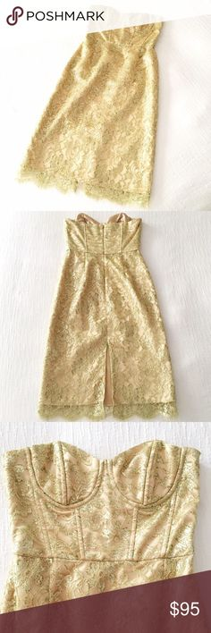 MILLY Gold Lace Cocktail Dress A STUNNING number by Milly! Gold Lace wraps the entire dress, with a corset-like bodice for that perfect fit. Strapless. Size 4. In PRISTINE CONDITION!! Wear this beauty to impress at any outing! Milly Dresses Strapless