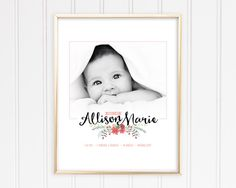 Birth Announcement Wall Art Personalized Photo Art Print Printable Nursery Art Photo Gift Baby Keepsakes Photos with Text Personalized Photo by PleaseAndThanksCards on Etsy https://www.etsy.com/listing/231814233/birth-announcement-wall-art-personalized