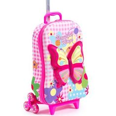 Bright Pink Rolling Briefcase Kids Wings 3 wheel Carry Rolling Upright Animal Pattern Two Pockets Suitcase Fancy Colors Purple Yellow Sky Blue Pink Luggage, Luggage Bags, Purple Yellow, Bright Pink, Blue, Rolling Briefcase, Carry On Suitcase, Luggage Accessories, 3rd Wheel