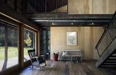 Wooden walls, flooring, stairs modern country interior Canyon Barn by MW Works Architecture+Design | Photo © Tim Bies
