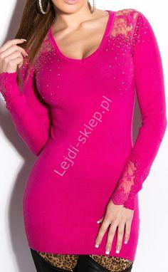 Tunika  damska z koronką, fuksja | wełniane tuniki, sztuczny jedwab