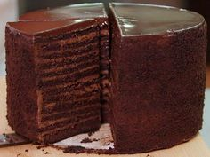Strip House's Chocolate Cake : This chocolate masterpiece boasts a towering 24 layers of cake and custard.