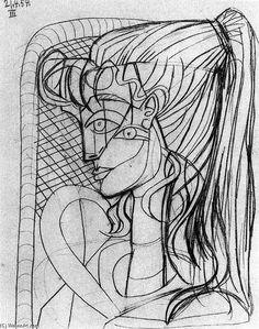 Pablo Picasso - Artsit XXè - Cubism - Portrait of Sylvette David Kunst Picasso, Picasso Art, Picasso Paintings, Picasso Guernica, Portrait Picasso, Cubist Portraits, Picasso Sketches, Pablo Picasso Drawings, Pablo Picasso Zeichnungen