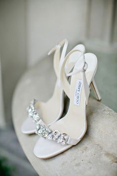 Wedding Bridal Shoes by Jimmy Choo // white strappy bling high heel wedding shoes Cute Shoes, Women's Shoes, Me Too Shoes, Shoe Boots, Strappy Shoes, Black Shoes, White Sandals, Prom Shoes, Fall Shoes