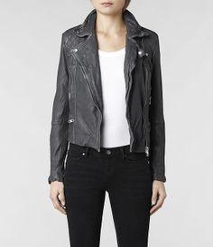 Womens Cargo Leather Biker Jacket (Grey)   ALLSAINTS.com