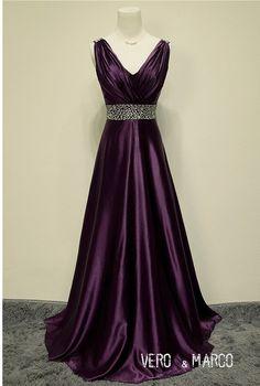 Eggplant Purple beaded belt shoulder straps V neckline low back satin A-line summer formal evening dress