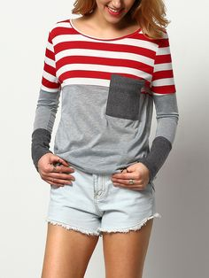 Camiseta cuello redondo rayas bolsillo -rojo-Spanish SheIn(Sheinside)