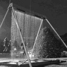 swingin' in the rain (animated at source) really cool animation/video, children, swinging through water