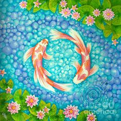 'Koi for Love' in orange and purple is an original acrylic painting for sale by Julia Underwood Koi Fish Drawing, Water Drawing, Fish Drawings, Cool Art Drawings, Koi Painting, Acrylic Painting Canvas, Feng Shui, Fish Gallery, Art Gallery