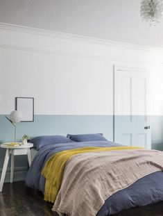Dip dyed wall in white and duck egg blue with yellow throw. Easy colour blocking ideas for the home. All White Bedroom, Interior, Kids Bedroom Inspiration, Minimalist Room, Colour Blocking Interior, Paint Colors For Living Room, Duck Egg Blue Bedroom, Bedroom Interior, Bedroom Colors