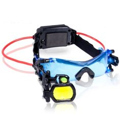 Hands-free, head-mounted lights with retractable scope Includes 1 set of night goggles (please note, these are not infrared night vision goggles) Adjustable Head Strap