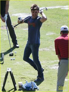 Zac Efron celebrates his birthday with a round of golf on Friday (October 18) in Carlsbad, Calif.