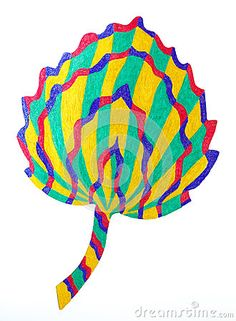 A colourful marker pen sketch of a Aspen leaf shape.