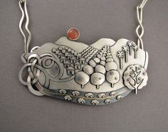 """""""A day in the country"""" (Pomona Valley) Sterling silver, 14 k and 18 k gold, Peach Moonstone by Ahlene Welsh"""