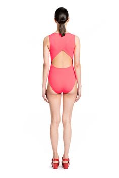 BETH RICHARDS | Grace One Piece - Cerise ONE PIECE WITH ENVELOPE BACK AND SIDE ZIP