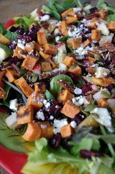 Autumn Chop Salad with Roasted Beets + Sweet Potato and Apple Dijon Dressing (gluten free & easily vegan!)
