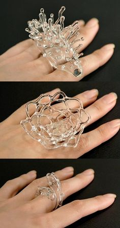 It's a good thing glass is a legal substance, because I am totally addicted. Amazing rings by Singing Glass (Japan's Mika Aoki). Glass Jewelry, Jewelry Art, Jewelry Rings, Jewelery, Jewelry Accessories, Jewelry Design, Glass Ring, Contemporary Jewellery, Modern Jewelry