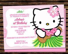 HELLO KITTY SWIMMING PARTY ALOHA LUAU HAWAIIAN INVITATION DIGITAL ILLUSTRATION / PRINTABLE    This listing is for a Digital File, no printed