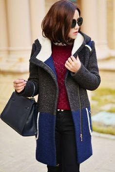 Color Block Hooded Coat OASAP.com