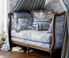blue french provencial daybed with canopy & toile pillows home room decor ideas