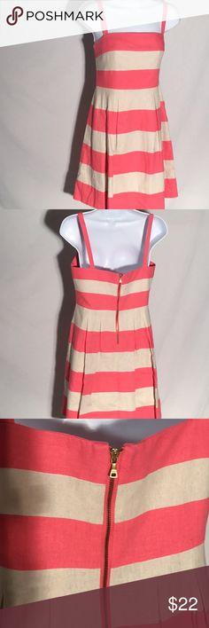 Loft Pink Striped Dress Adorable Loft Pink Striped Dress Lined Back Exposed Zipper Size 2 LOFT Dresses