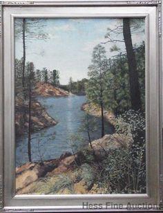 Vintage B Crawford 1963 Moutain Lake Scene Impressionist Acrylic Painting #Impressionism