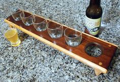 Handmade Wood Mini Brew Beer Sampler 6 The 401 by tauntongreen, for C Beer Sampler, Beer Caddy, Homemade Beer, Home Bar Designs, Christmas Craft Projects, Scrap Wood Projects, Wine Glass Holder, Wine And Liquor, Brew Pub
