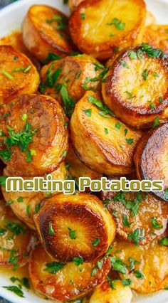 Toss the potatoes in the mixture of the butter, thyme, salt and pepper, arrange in a single layer on a metal baking pan and bake in a preheated over on the top-middle rack until golden brown Potato Side Dishes, Vegetable Side Dishes, Vegetable Recipes, Vegetarian Recipes, Cooking Recipes, Healthy Recipes, Bbq Chicken Side Dishes, Grilled Side Dishes, Protein Recipes