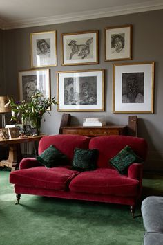Red Velvet Couch With Green Pillows And Rug