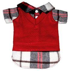 Camisa em Flanela Xadrez Vermelho Dudog Vest - MeuAmigoPet.com.br #petshop…