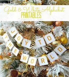 DIY:: Free Gold & White Alphabet Printables ~ Make this beautiful banner. From: Tatertots and Jello Holiday Banner, Christmas Banners, Christmas Decorations, Christmas Ornaments, Holiday Fun, Holiday Ideas, Christmas Time Is Here, All Things Christmas, Christmas Holidays