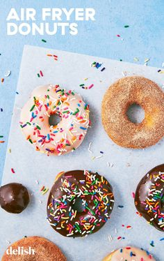 Air Fryer Glazed Doughnuts Are SO Much Better Than Baked Doughnuts Air Fry Donuts, Fried Donuts, Baked Doughnuts, Air Fryer Doughnut Recipe, Donut Recipes, Cooking Recipes, Coffee Recipes, Air Fryer Recipes Easy, Air Fryer Healthy