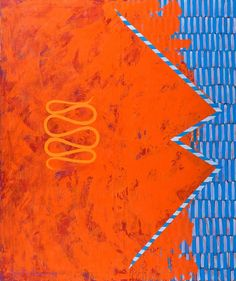 Mari Rantanen (Finnish, b. Say Like It Is, Oil on canvas, 188 x 157 cm. Pattern Art, Abstract Pattern, Abstract Art, Gravity's Rainbow, Complimentary Colors, Contemporary Artwork, Blue Orange, Yellow, Fairy Land