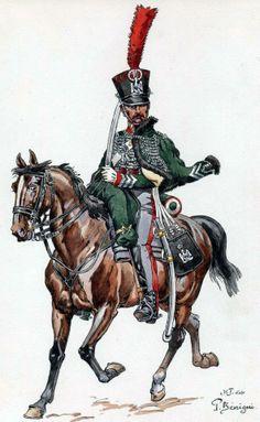 France-Sergeant 1 Eklererów Regiment Imperial Guard (old guard) in uniform near 1814 Fig. P. Begnini.