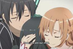 Sword Art Online, Kirito, Asuna, and Yui