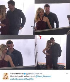 Getting it out there: The actress shared a collage of shots herself and David as Angel on ...