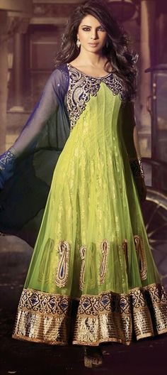 414032, Bollywood Salwar Kameez, Net, Stone, Lace, Resham, Green Color Family