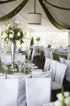 White + Green Draped Tent