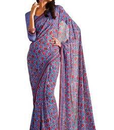 Buy Purple printed georgette saree with blouse banarasi-silk-saree online