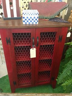 Items similar to Jelly Cabinet in Barn Red with Stained Top and Chicken Wire Doors - Great Storage Cupboard on Etsy Refurbished Furniture, Repurposed Furniture, Painted Furniture, Shaker Furniture, Diy Furniture Projects, Furniture Makeover, Wood Projects, Furniture Movers, Furniture Stores