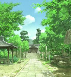 Anime-backgrounds: A Letter to Momo. Directed by Hiroyuki Okiura. Created by Production I.G.