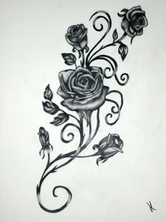 Another potential tattoo. Vine & Roses, black and white, done in charcoal.