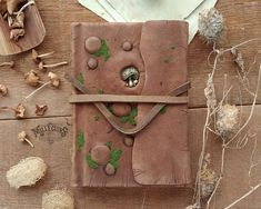 Druid grimoire nature brown leather tree journal pagan