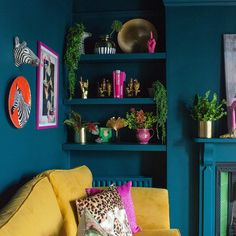 Teal and mustard living room. Colourful, maximalist decor inspiration with quirk. Teal and mustard living room. Colourful, maximalist decor inspiration with quirky prints and home accessories from Audenza. Room Colors, House Colors, Living Room Decor Colours, Room Colour Ideas, Mustard Living Rooms, Teal Living Rooms, Teal Rooms, Colourful Living Room, Quirky Living Room Ideas