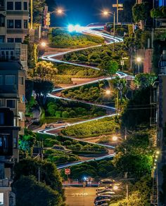 """Lombard Street, Francisco, USA. Known as the """"Crookedest Street in the World,"""" Lombard Street is one of San Francisco's most popular landmarks."""