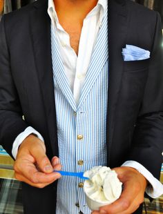 classy chic - love the vest, lack of buttons, and most of all, that it's ok to eat a casual dessert while wearing this!