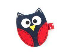 Felt Owl Hair Clip -  Toddler Hair Clip - Red, Navy - Fall Hair Clip - What a Hoot - Brooch Pin